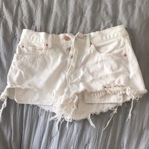 Free People Crochet Cream Shorts